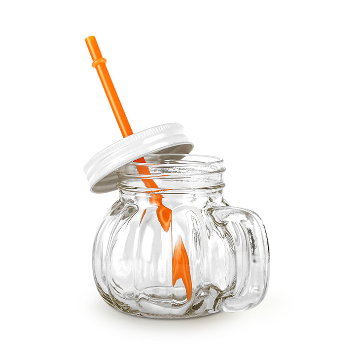 Melon With Straw Orange Lid Drinking Jar 370 ml Glass Mason Jars in Transparent Colour by Living Essence