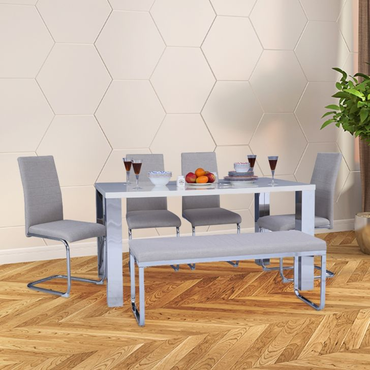 Opera High Gloss Top 6 Seater Dining Set in Off White Colour by HomeTown