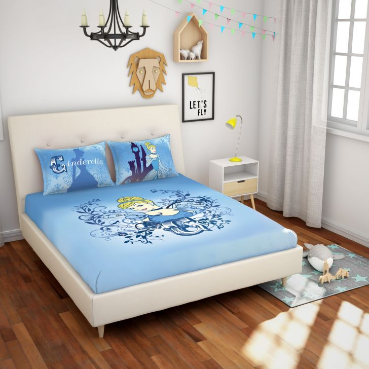 Spaces Disney 180 Tc Cotton Blue Double Bedsheet With 2 Pillow Covers
