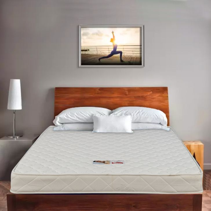 Comfort Bonnell Spring Queen Mattress 78X60X8 inch in Off White Colour
