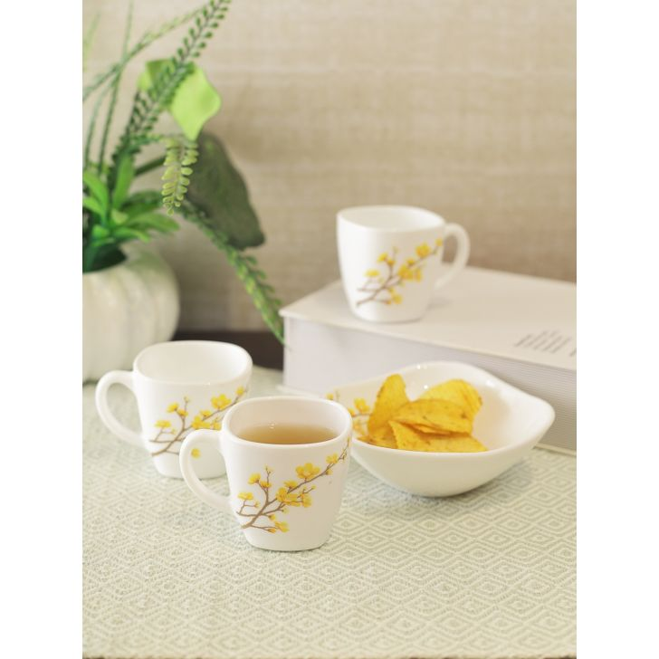 LaOpala Diva Summertide Opalware Quadra Coffee Time Cup and Bowl Set of 8 in White Colour by La Opala