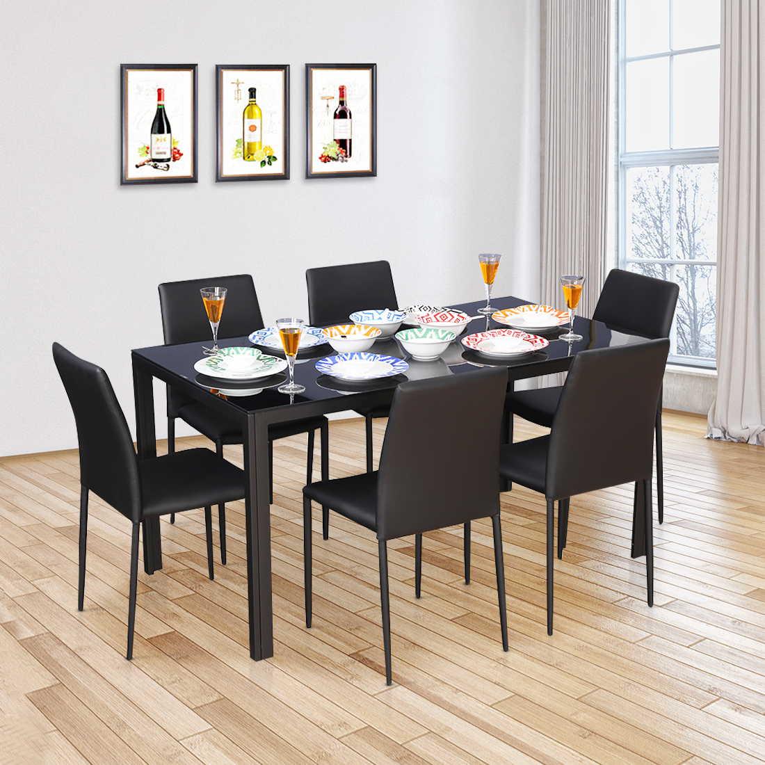 Marko Mild Steel Six Seater Dining Set in Black Colour by HomeTown