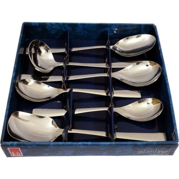 Slimline Stainless Steel Serving Set Of 6 Pcs in Silver Colour by FNS