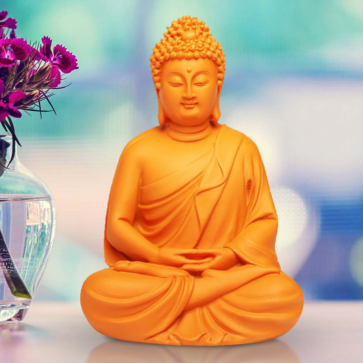 Bliss Color Buddha Polyresin Idols in Mate Citron Colour by Living Essence