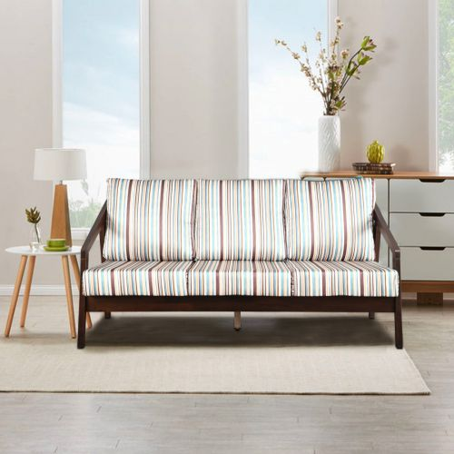 Borris Solid Wood Three Seater Sofa With Cushions In Stripes Colour By Hometown
