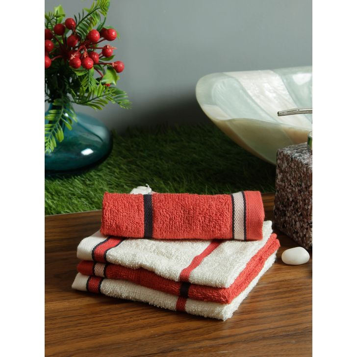 Set of 4 Emilia Cotton Face Towels in Rust Off White Colour by Living Essence