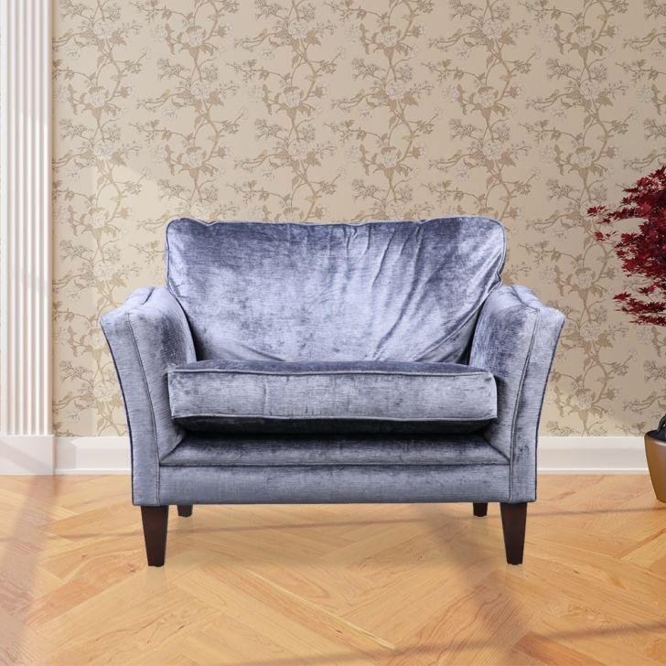 Aldeburgh Solid Wood Single Seater Sofa in Vilandry Charcoal Colour by HomeTown