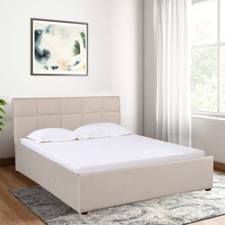 Allen Engineered Wood Box Storage Queen Size Bed in Taupe Colour by HomeTown