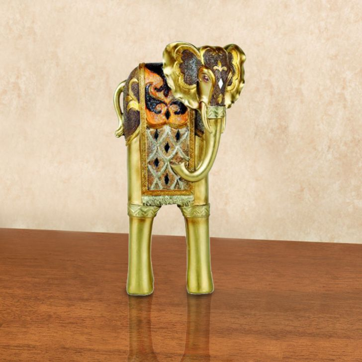 Embellished elephant figurine Polyresin Figurines in Assorted- Red And Blue Colour by Living Essence
