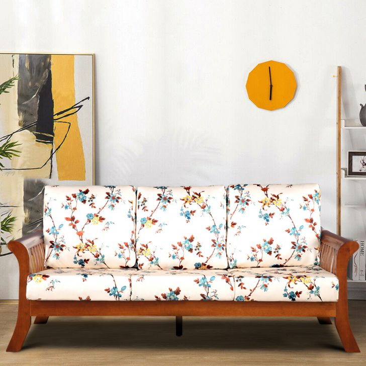 Aubrey Solid Wood Three Seater Sofa with Cushion in Floral Colour by HomeTown