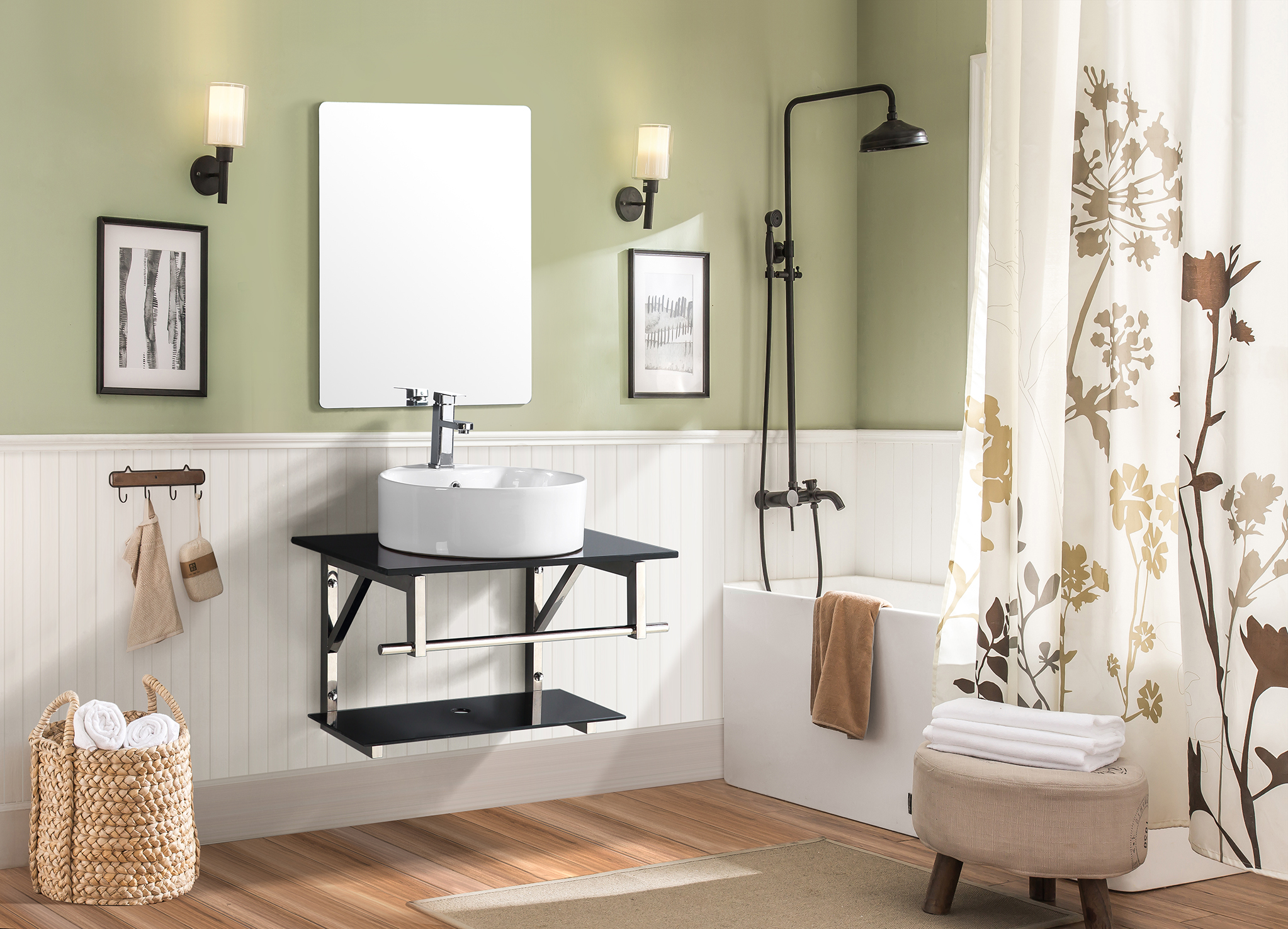 Evea Bath Vanity in Black & White Colour by HomeTown