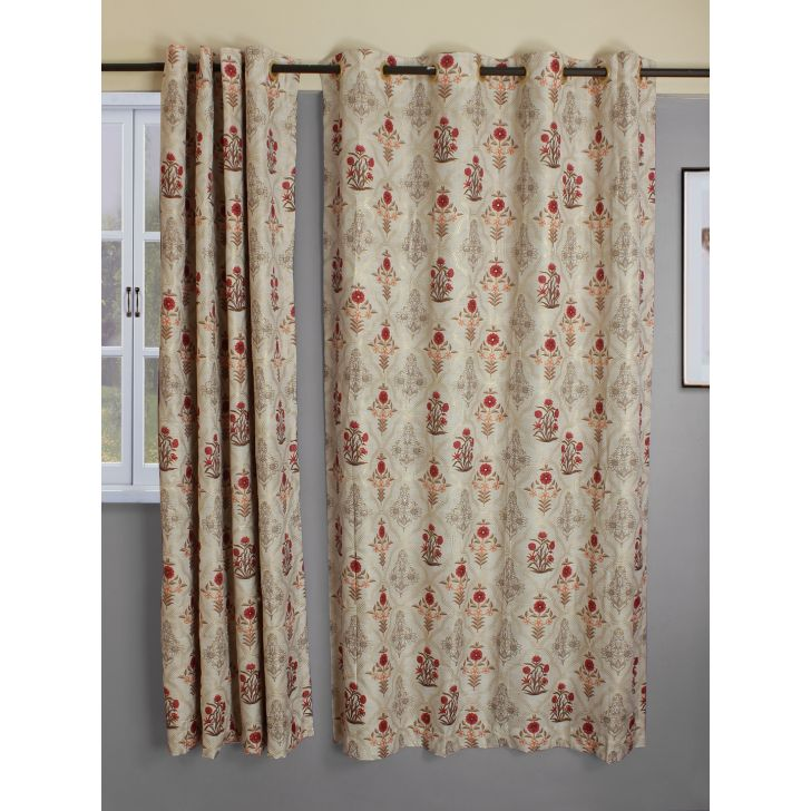 Set of 2 Nora Print Butta Polyester Window Curtains in Beige Colour by Living Essence