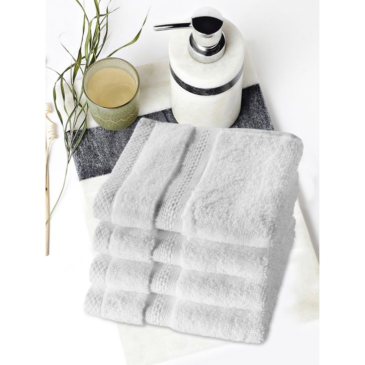 Paradiso Cotton Set Of 4 Face Towel 30X30 Cm 500 Gsm in White Colour