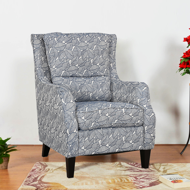Patricia Fabric Arm Chair in Blue Colour by HomeTown