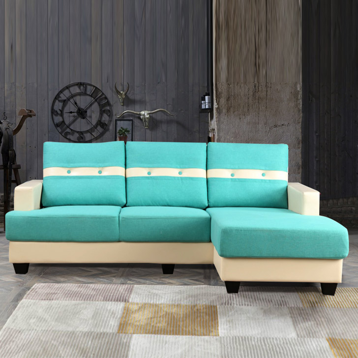 Bernie Fabric & Leatherette Lounger in Teal & Beige Colour by HomeTown