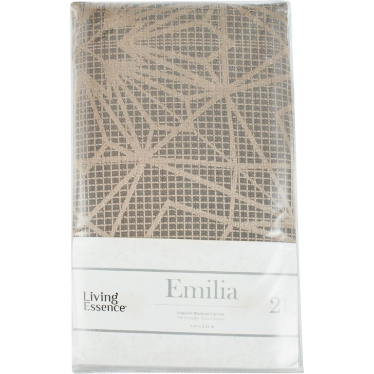 Emilia Jacquard Set of 2 Polyester Door Curtains in Charcoal Colour by Living Essence