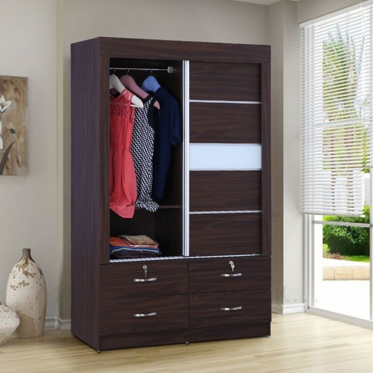 Bolton Engineered Wood Sliding Door Wardrobe in Walnut Color by HomeTown