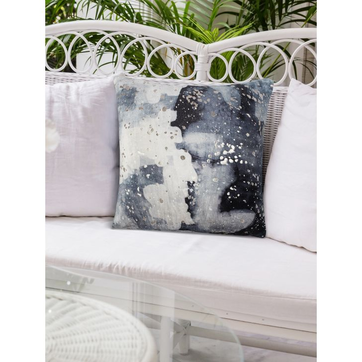 Modern Color Splash Polyester Cushion Covers in Charcoal Colour by Living Essence