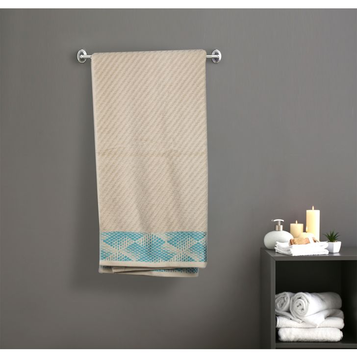 Jacquard Bordered Cotton Bath Towels in Beige Colour by Cannon