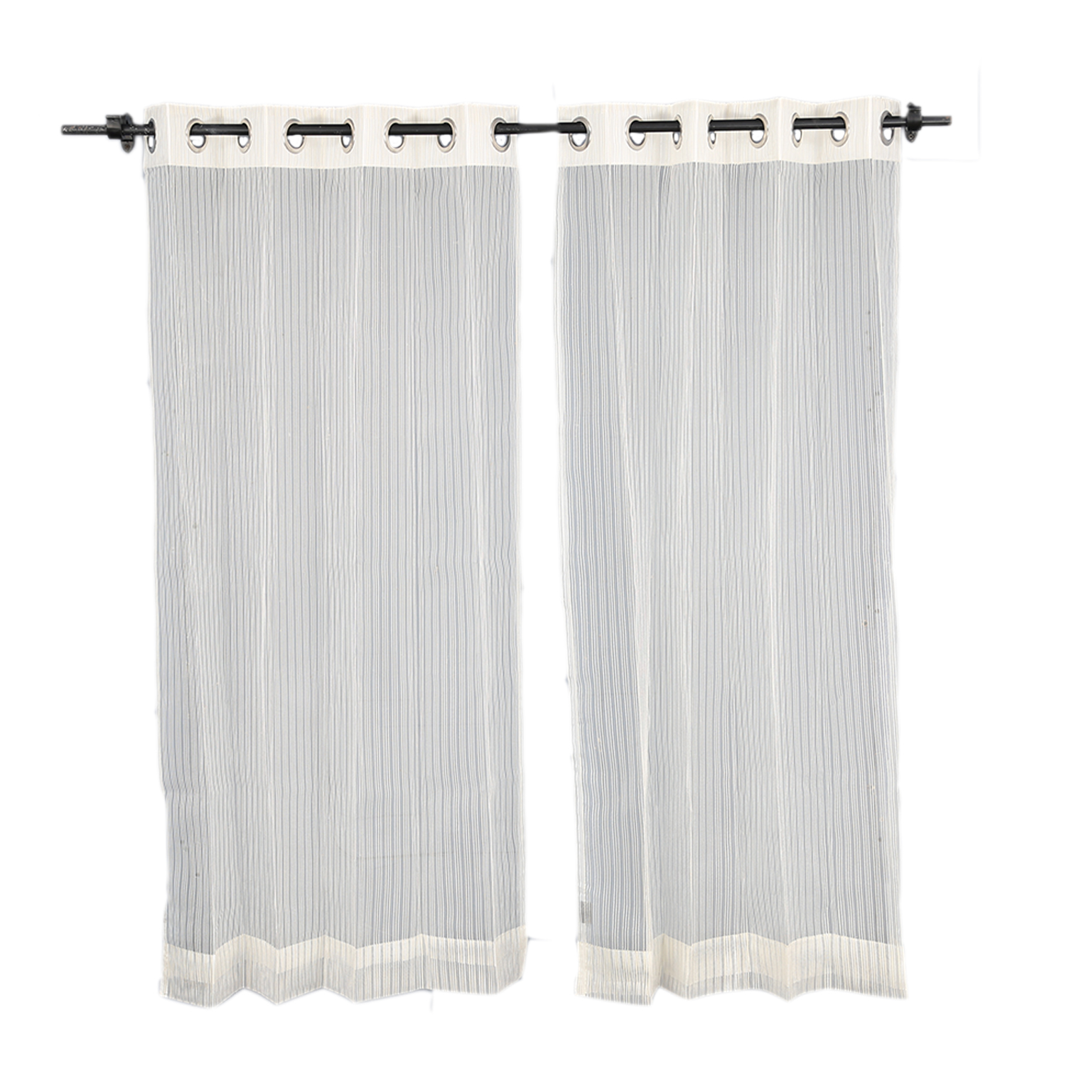 SIA Polyester Sheer Curtains in Off White Colour by Living Essence