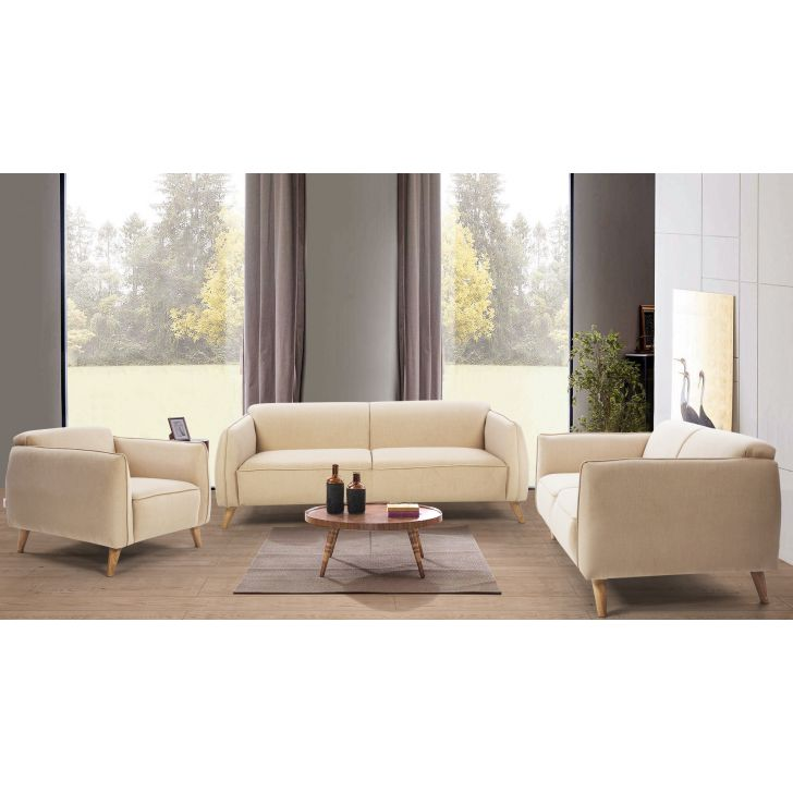 Brawny Fabric Three Seater + Two Seater + Single Seater Sofa Set in Beige Colour