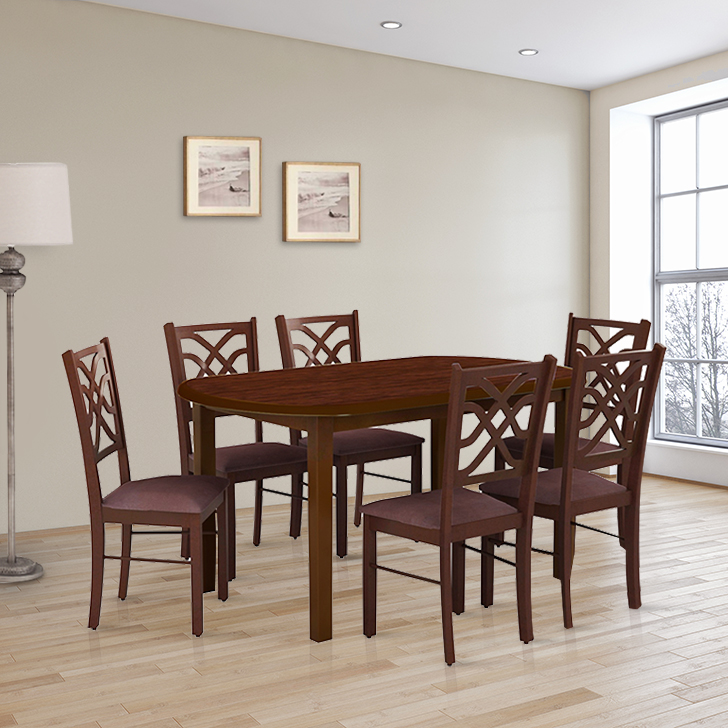 Oliver Solid Wood Six Seater Dining Set in Wenge & Walnut Colour by HomeTown