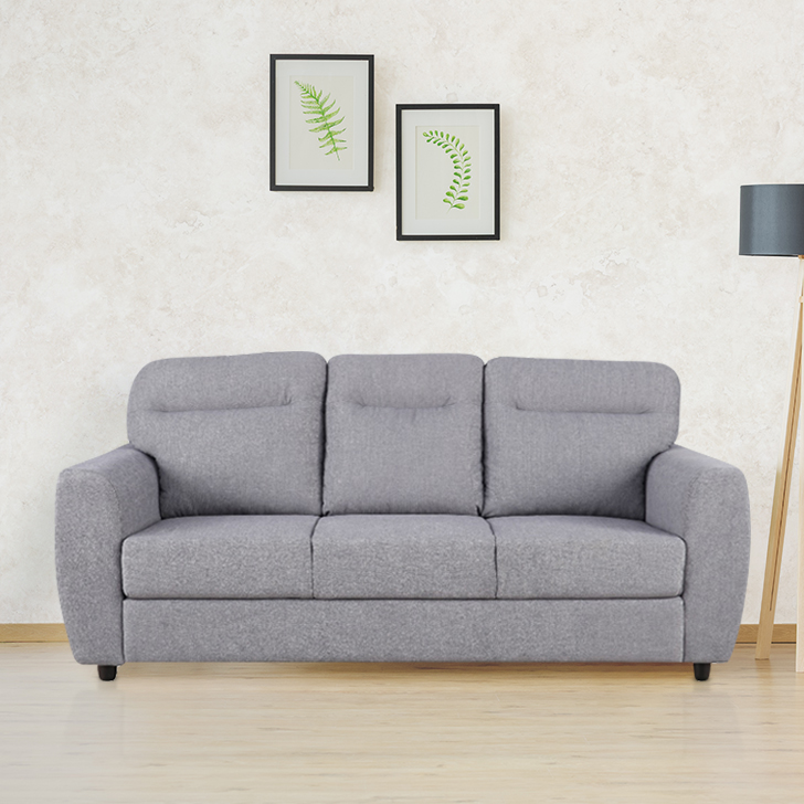 Chelsea Fabric Three Seater Sofa in Grey Colour by HomeTown