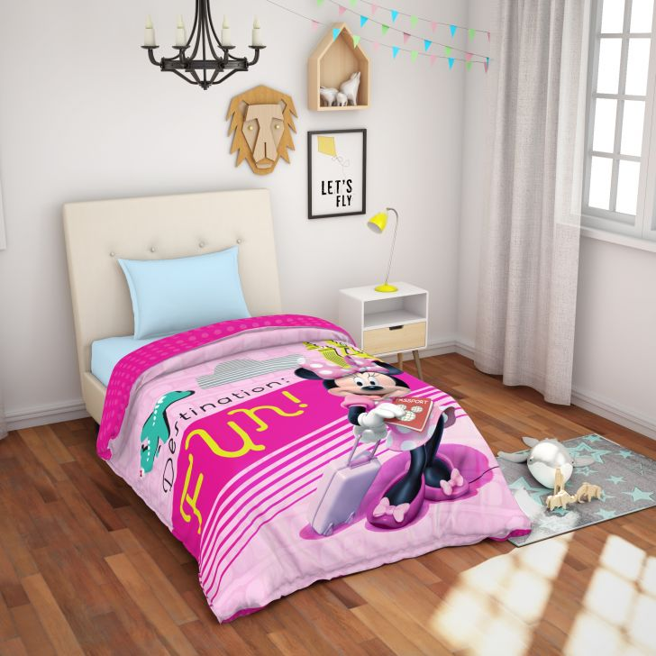 Spaces Disney Minnie Cotton Single Bedsheet With 1 Pillow Cover