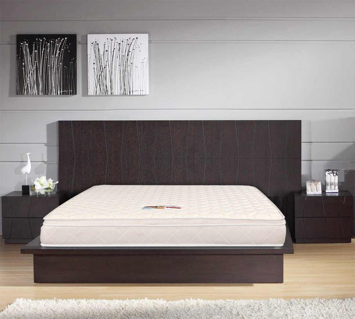 Majestic Fabric Queen Bed Mattress in Cream Colour by HomeTown