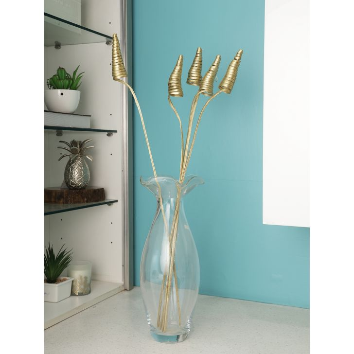 Wicker Dry Steel Jumbo Cone in Gold Colour by Living Essence