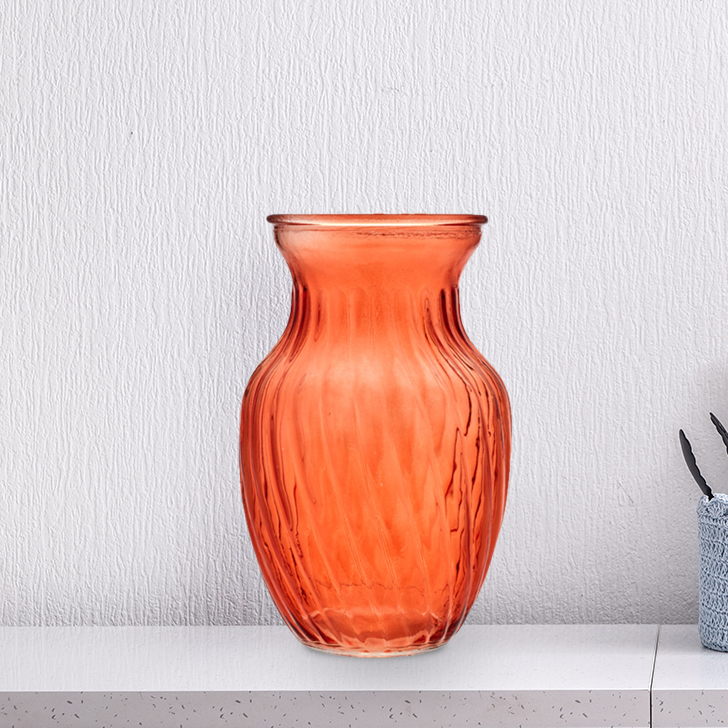 Verve Flared Tulip Vase 20Cm Rust Glass Vases in Rust Colour by Living Essence