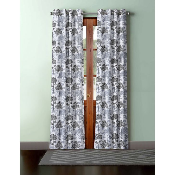 Floral Print Polyester Door Curtain in Grey Colour by Easy Life