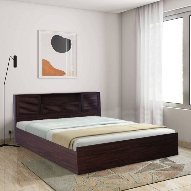 Bolton Engineered Wood Box Storage Queen Size Bed in Walnut Colour by HomeTown