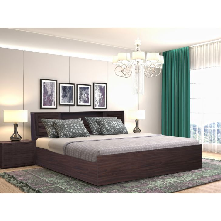 Bolton Engineered Wood Queen bed with Box storage in Walnut Colour by HomeTown