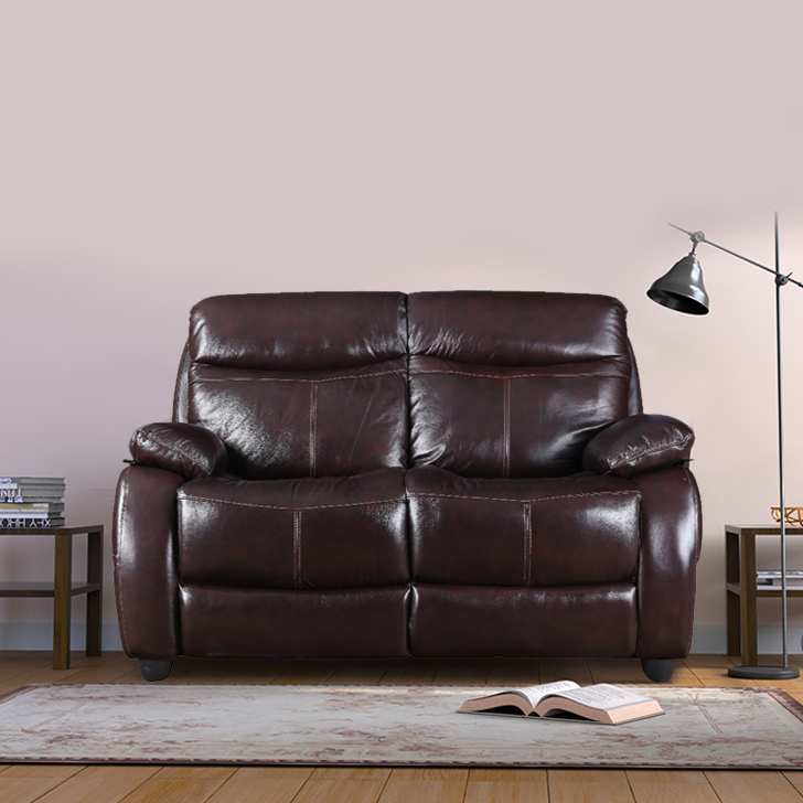 Russel Half Leather Two Seater sofa in Dark Brown Colour by HomeTown