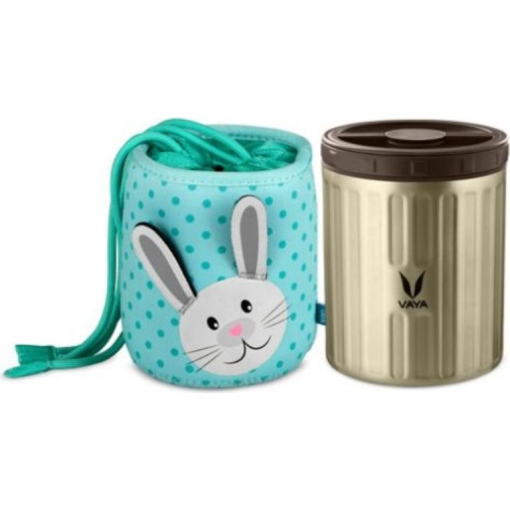 Vaya 500 ml Stainless steel Preserve Lunch Kit Graphite with Bunny Bag in Purple Colour
