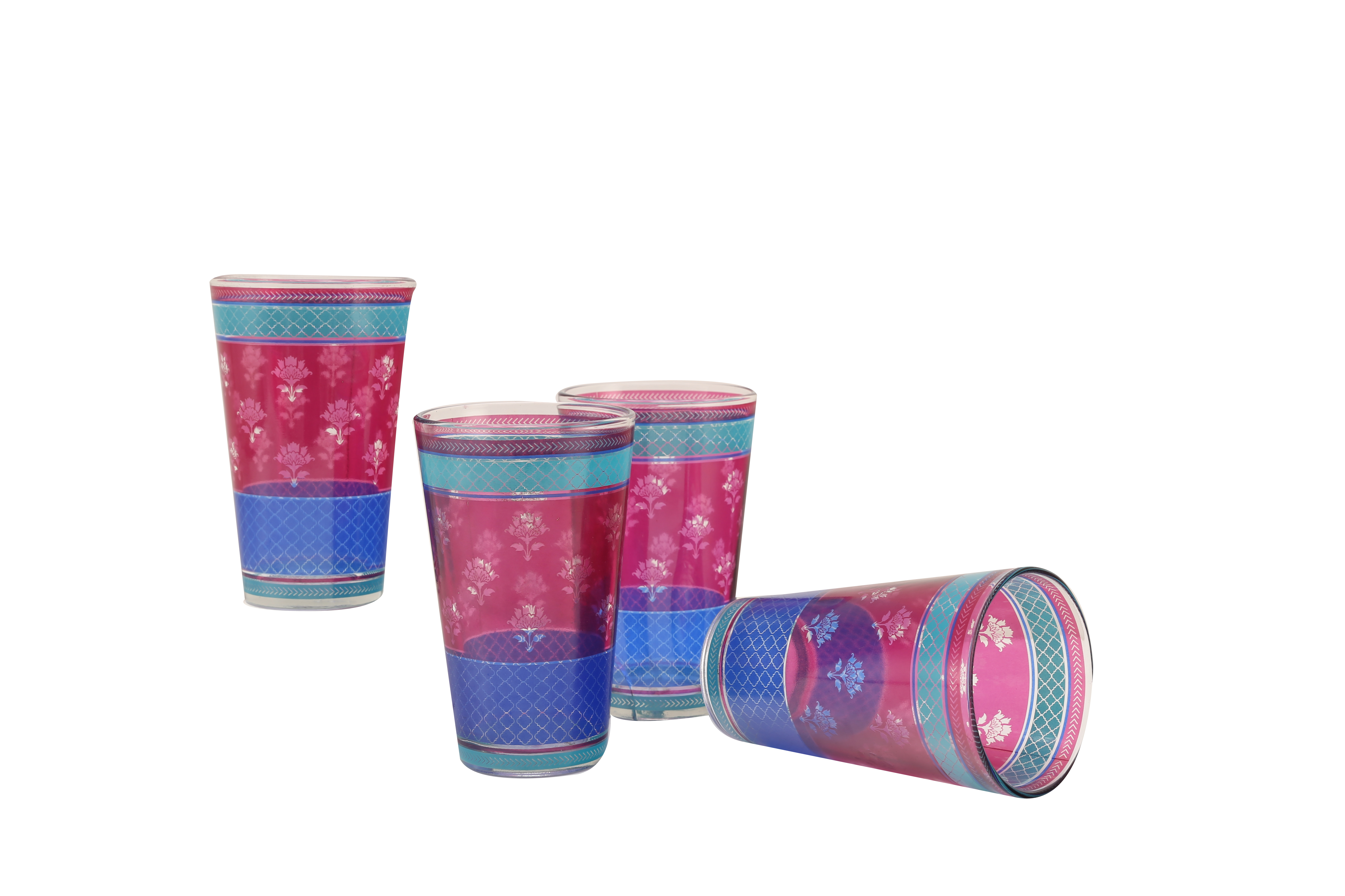 Vrindavan Tumblers Set Of Glass Bar Glassware in Blue & Pink Colour by HomeTown