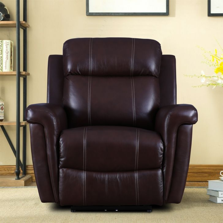 Gatwick Half Leather Single Seater Electric Recliner in Cognac Colour by HomeTown