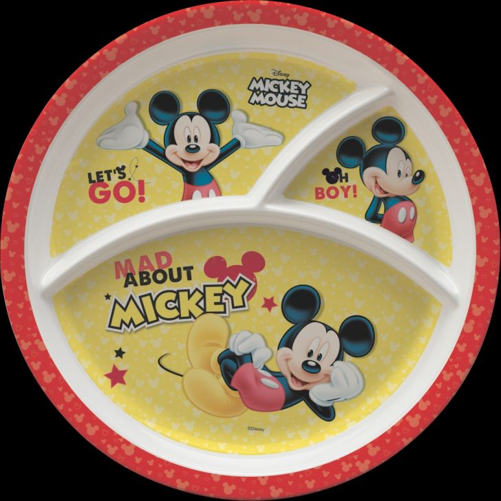 Mickey Melamine Kids Round 3 Partition Plate in Multi Colour by Servewell