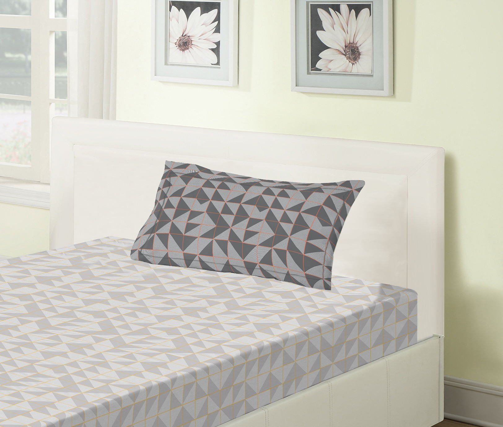 Emilia Cotton Single Bedsheets in Grey Colour by Living Essence