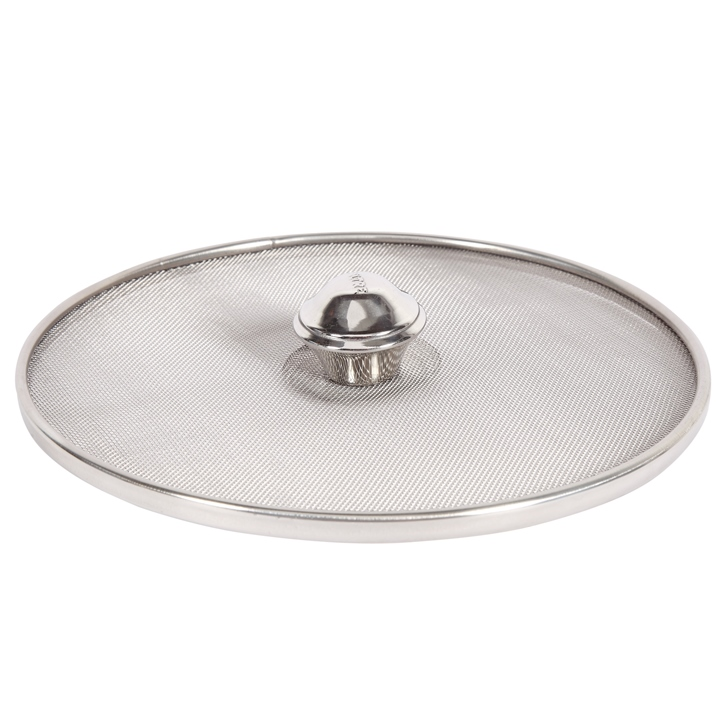 Stainless Steel Net Lid Cover 26 cm Stainless steel Cooking Essential in Silver Colour by Living Essence