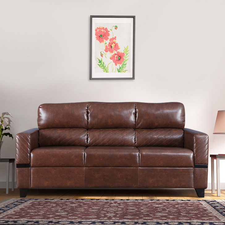 Benedict Fabric & Leatherette Three Seater sofa in Tan Colour by HomeTown