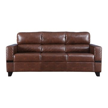 Buy Benedict Fabric Leatherette Three Seater Sofa In Tan Colour By
