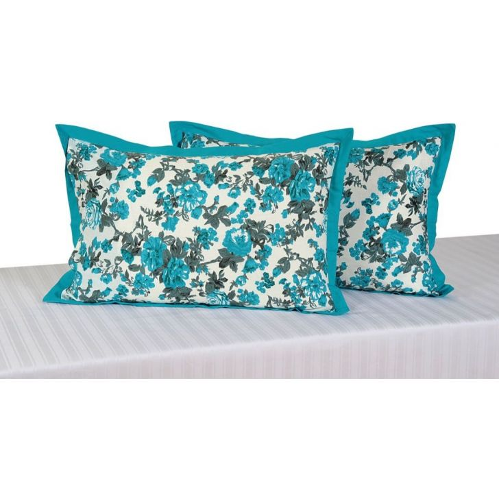 Solid Single Pillow Cover In Sky Blue Color By Swayam