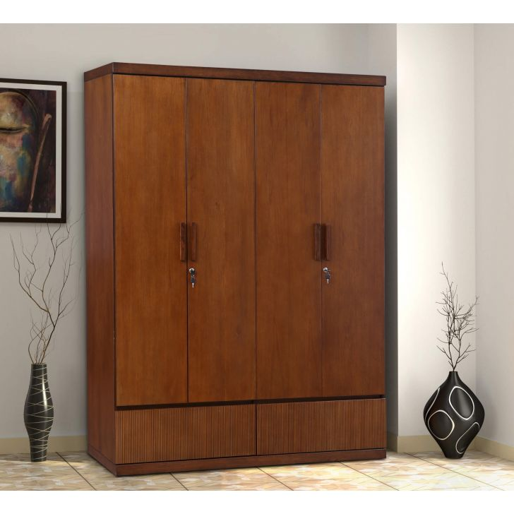 Mystique Solid Wood Four Door Wardrobe in Walnut Colour by HomeTown