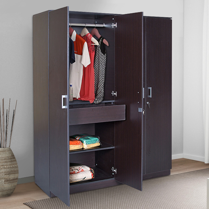 Premier Engineered Wood Four Door wardrobe in Wenge Colour by HomeTown