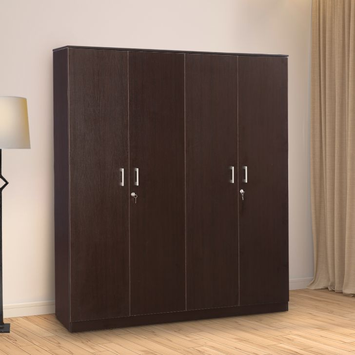 Prime Engineered Wood Four Door wardrobe in Wenge Colour by HomeTown