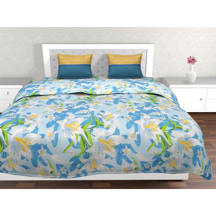 Epitome Cotton Double Bedsheet in Blue Colour by Trident