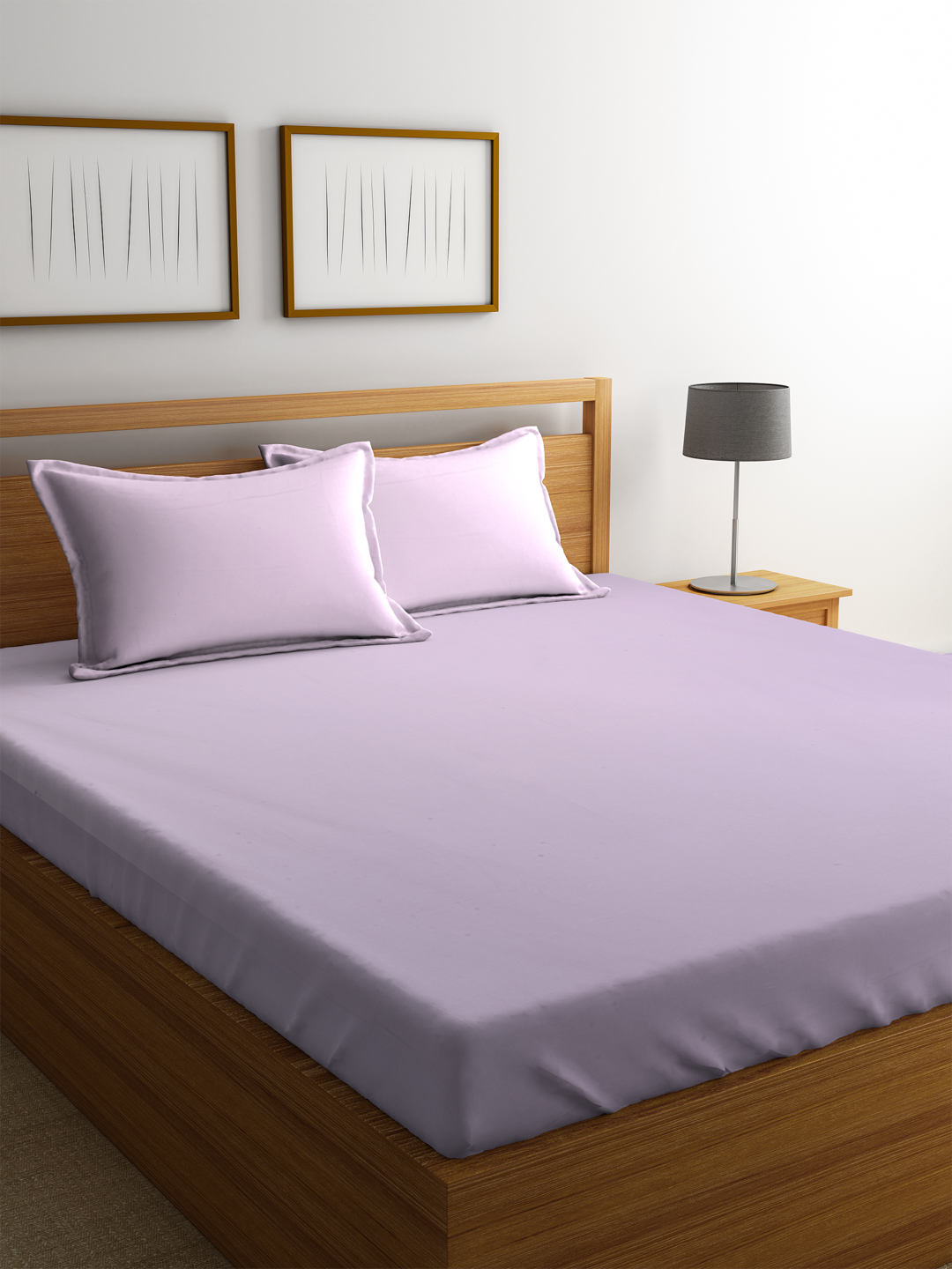Portico Percale Cotton Double Bed Sheets in Pink Colour by Portico