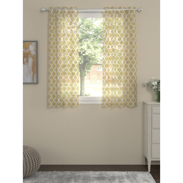Voile Spaces Window Curtain In Yellow Color By Rosara Home